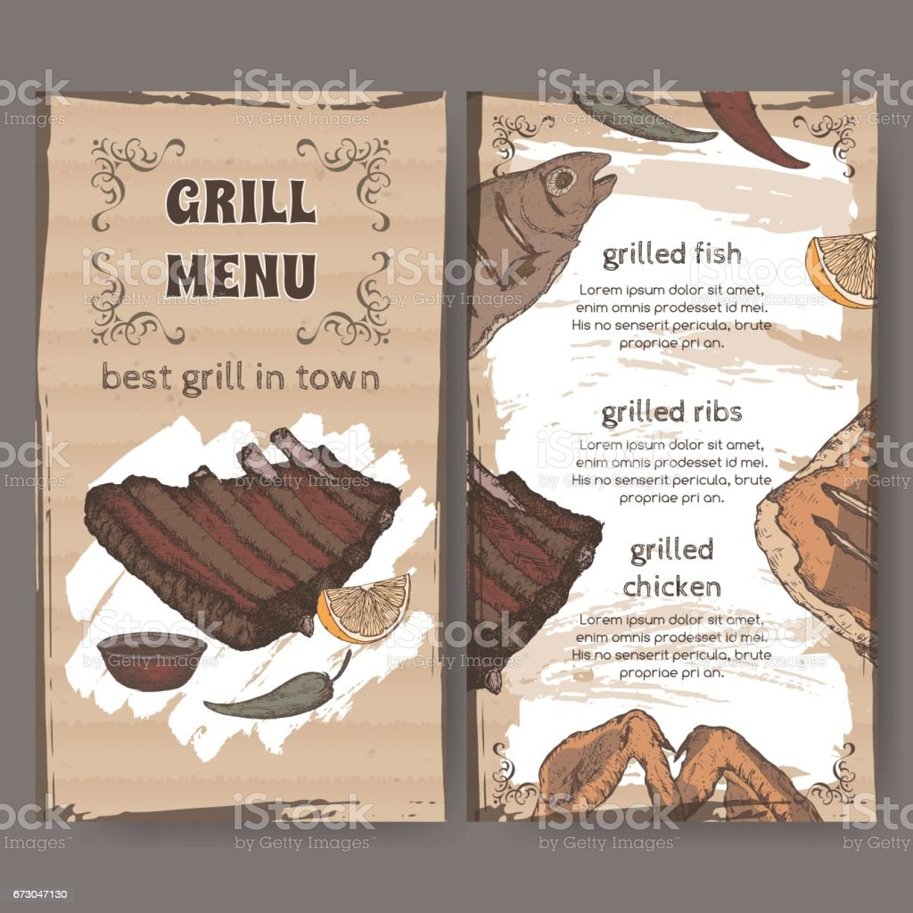 Color vintage grill restaurant menu template with hand drawn sketch vector art illustration