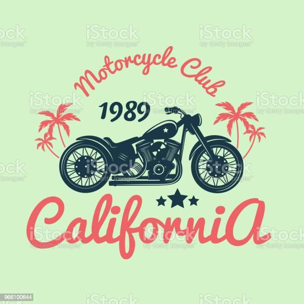 Color Vintage Motorcycle Emblemvector Illustration Stock Illustration - Download Image Now