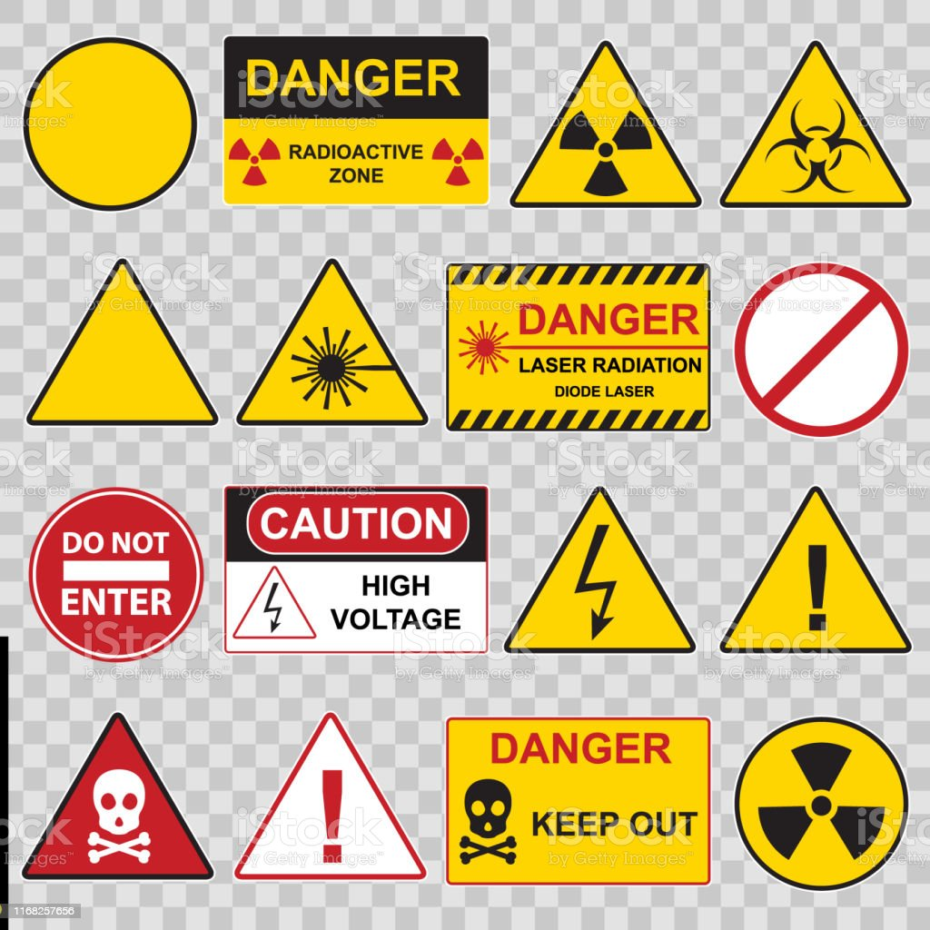 Color Warning Danger Signs Icon Set Vector Stock
