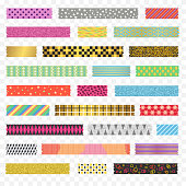 Color Washi Tape Strips Different Types with Dot, Heart and Star Set on a Transparent Background. Vector illustration