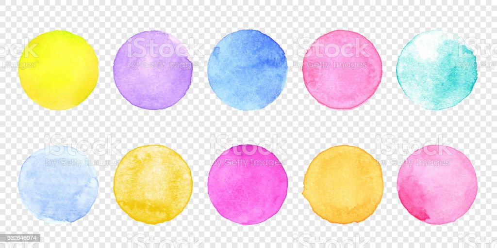 Color watercolor circle set. Vector smear watercolour splash stain on transparent background. royalty-free color watercolor circle set vector smear watercolour splash stain on transparent background stock illustration - download image now
