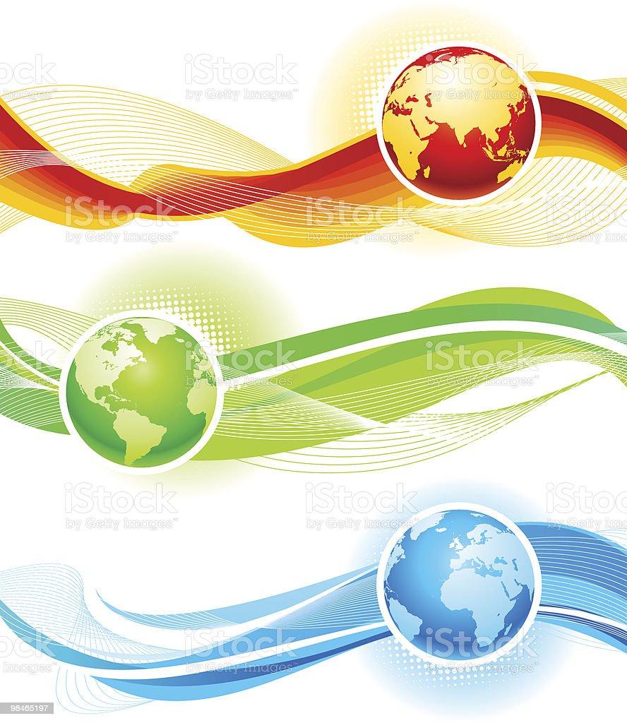 Onde di colore e Globe onde di colore e globe - immagini vettoriali stock e altre immagini di affari royalty-free