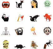 16 color icons representing different Horror Spooky symbols.