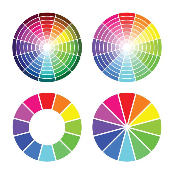 illustrazioni stock, clip art, cartoni animati e icone di tendenza di rgb color wheel 12 color,  set on white background - ruota dei colori