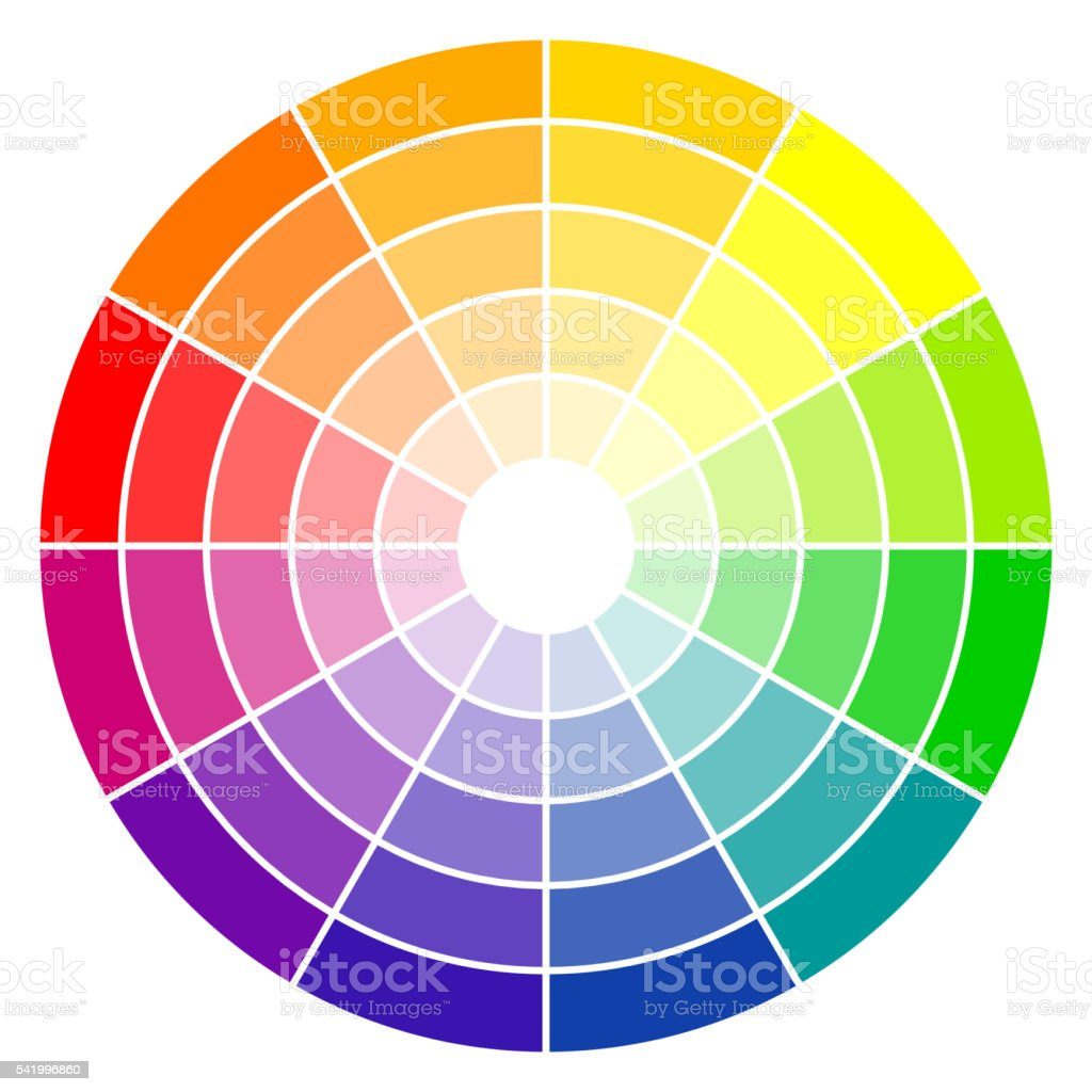 color wheel 12-colors vector art illustration