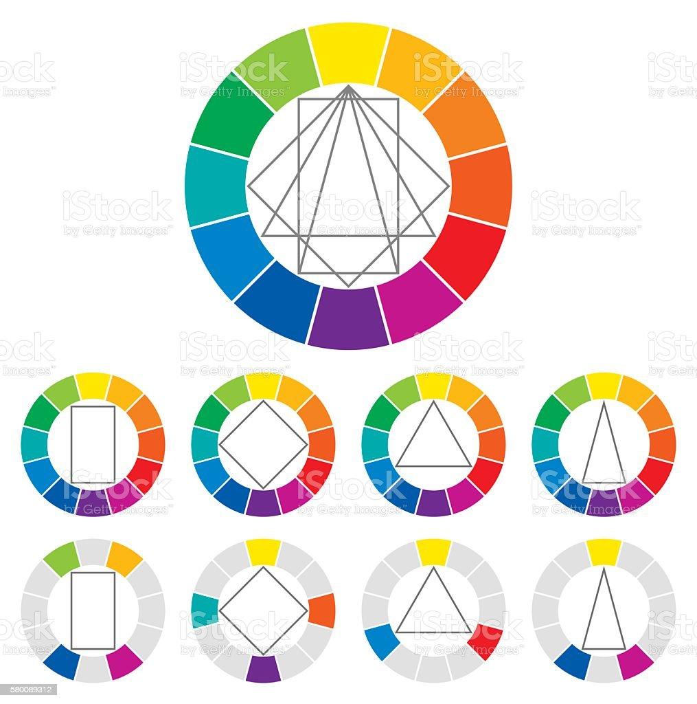 Color wheel color combinations – Vektorgrafik