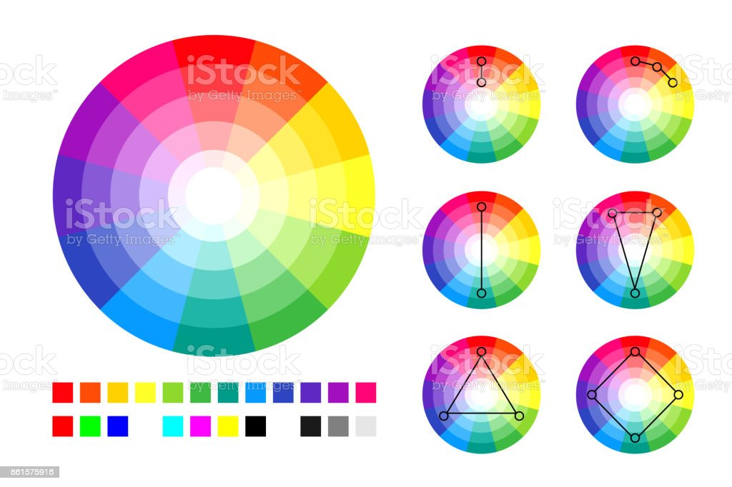 Color Wheel Color Schemes And Rgb And Cmyk Palette Stock Vector Art
