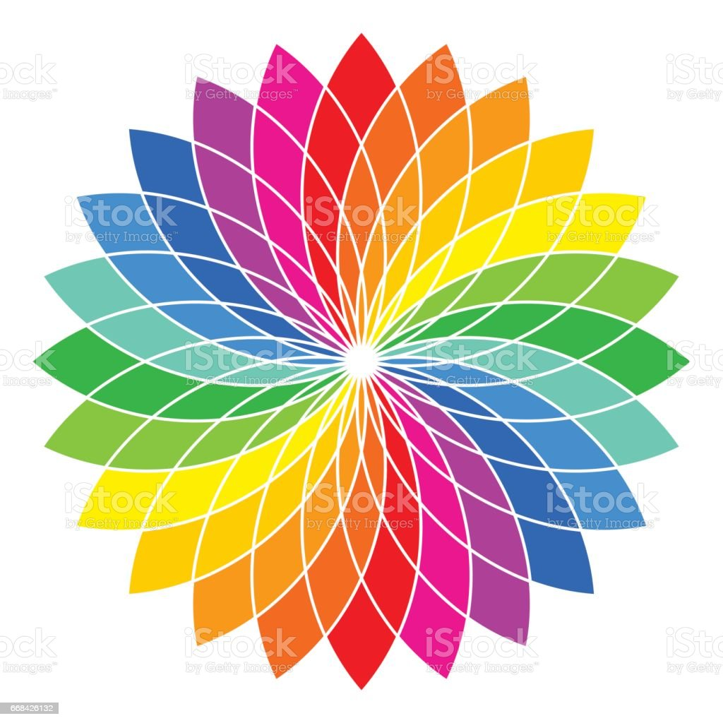 Color Wheel Flower Illustration Stock Vector Art More Images Of