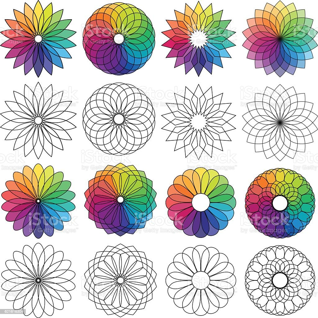 Color Wheel Flowers Royalty Free Stock Vector Art Amp More Images