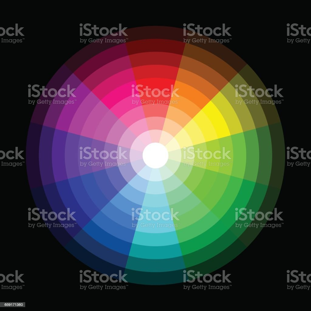 Rgb Color Wheel From Dark To Light On Black Background Stock Vector
