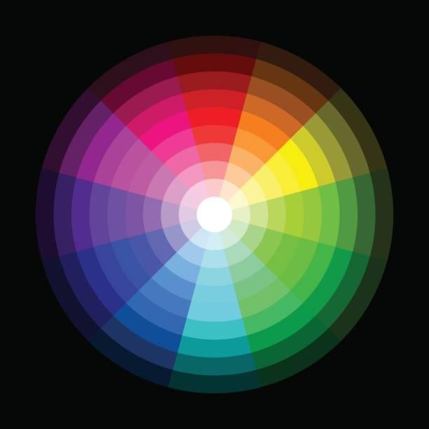 bildbanksillustrationer, clip art samt tecknat material och ikoner med rgb-färghjul från mörk till ljus på svart bakgrund - wheel black background