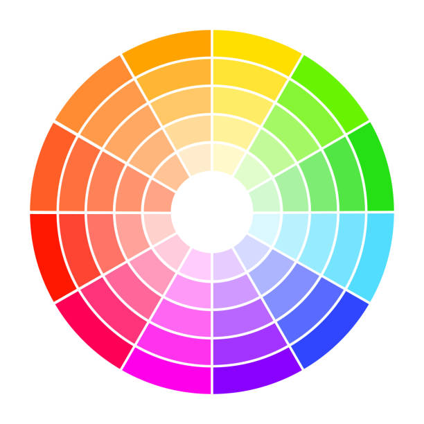 illustrazioni stock, clip art, cartoni animati e icone di tendenza di color wheel guide with saturation and highlight. colour picker assistant. - ruota dei colori