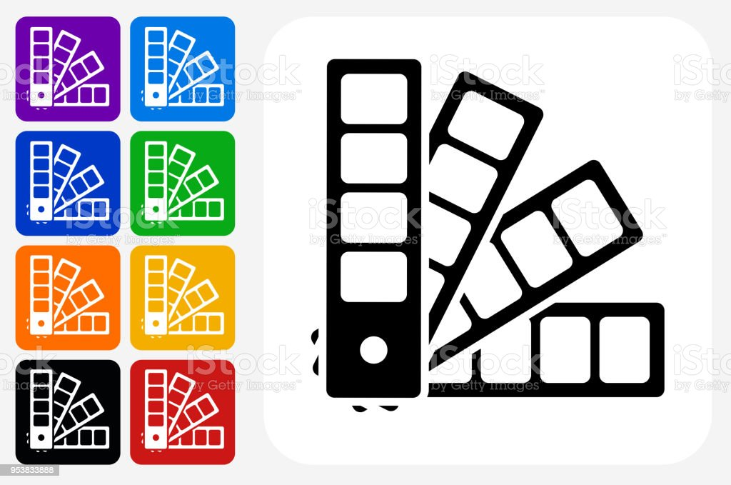 Color Wheel Icon Square Button Set Stock Vector Art More Images Of
