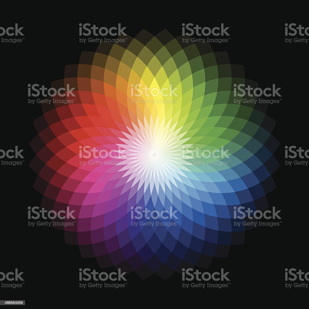 Color wheel radiating the various spectrums vector art illustration