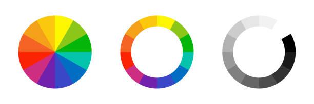 illustrazioni stock, clip art, cartoni animati e icone di tendenza di color wheel. vector isolated element. circle colour spectrum palette. - huế