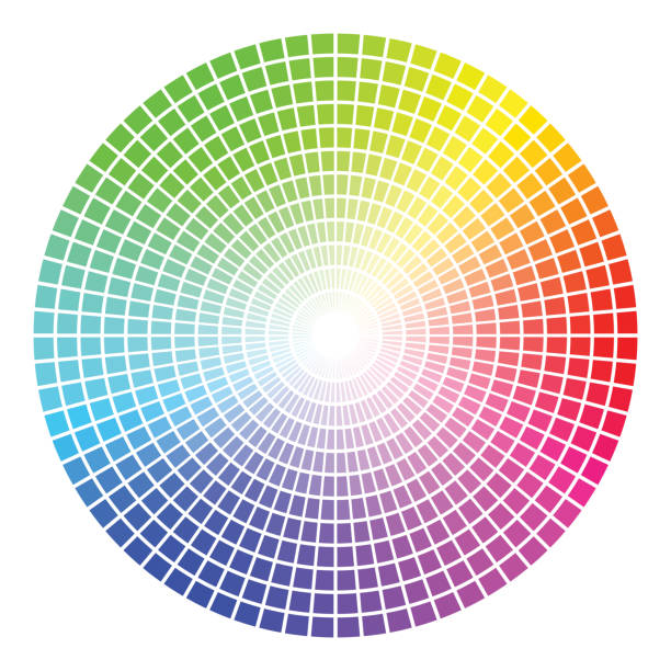 illustrazioni stock, clip art, cartoni animati e icone di tendenza di color wheel vector template - ruota dei colori