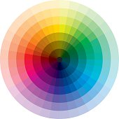 Color wheel with graduation from black to white
