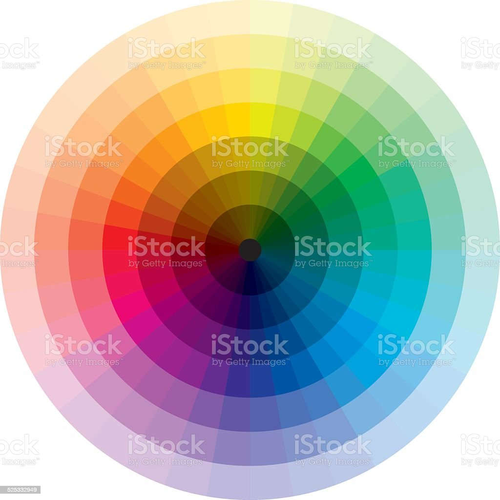 Color wheel with graduation from black to white vector art illustration