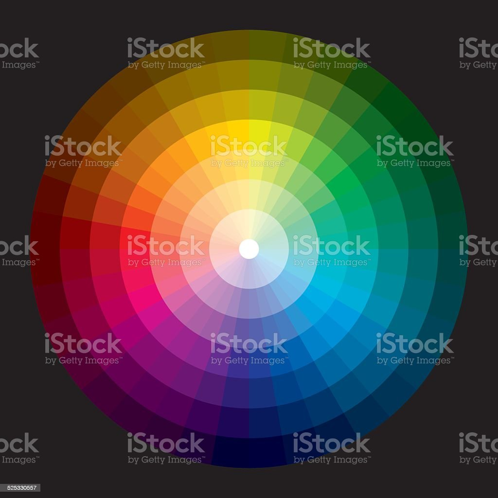 Color wheel with graduation from white to black vector art illustration