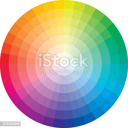 A color wheel / circle with 36 hues (rainbow colors) on a white background. The hues graduate in 7 steps to its white center.