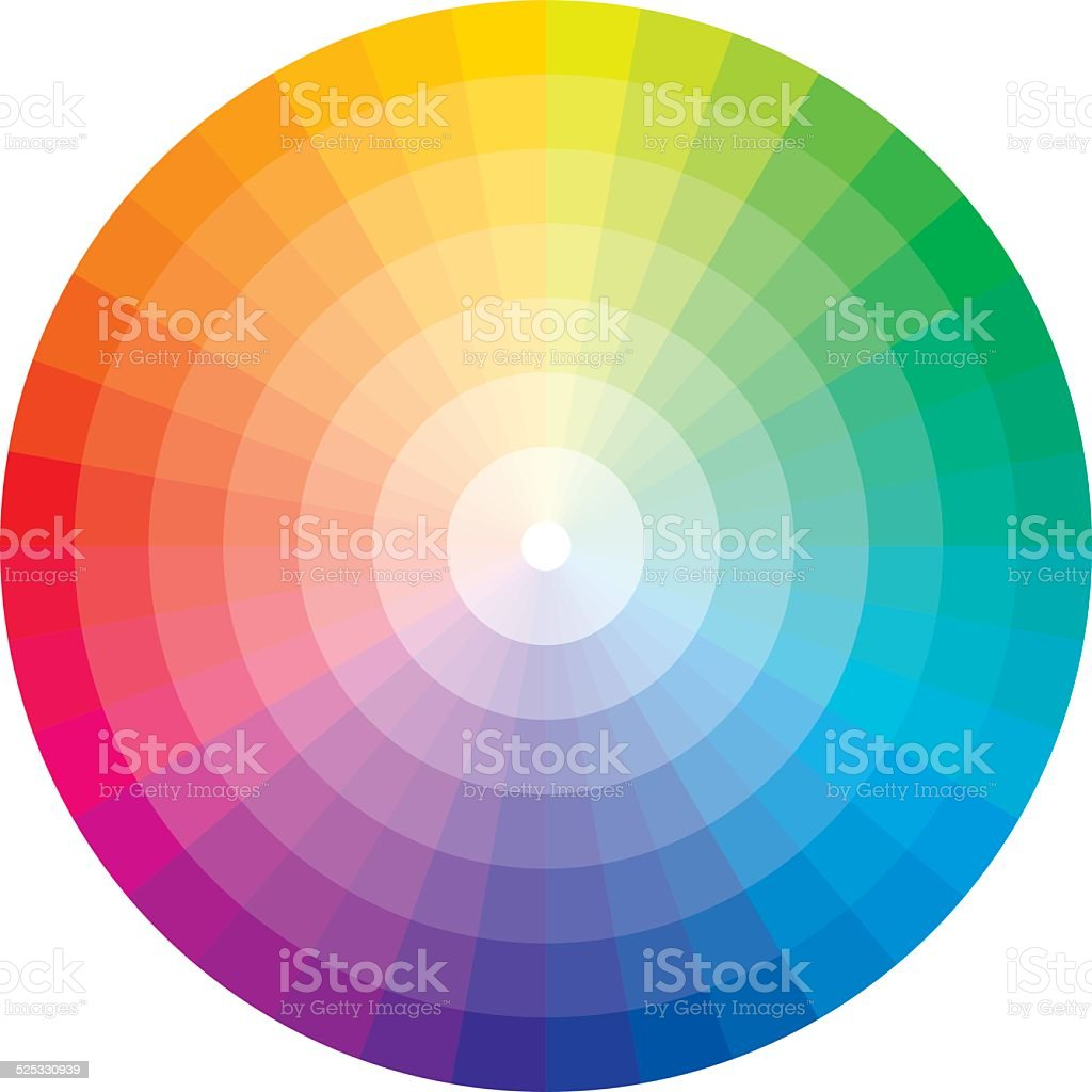 Color wheel with graduation to white vector art illustration