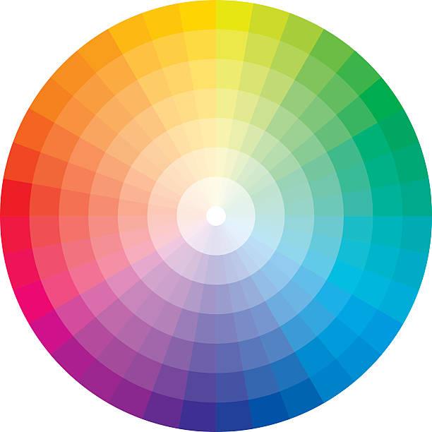 ilustrações, clipart, desenhos animados e ícones de roda de cores com formatura em branco - amostra de cor