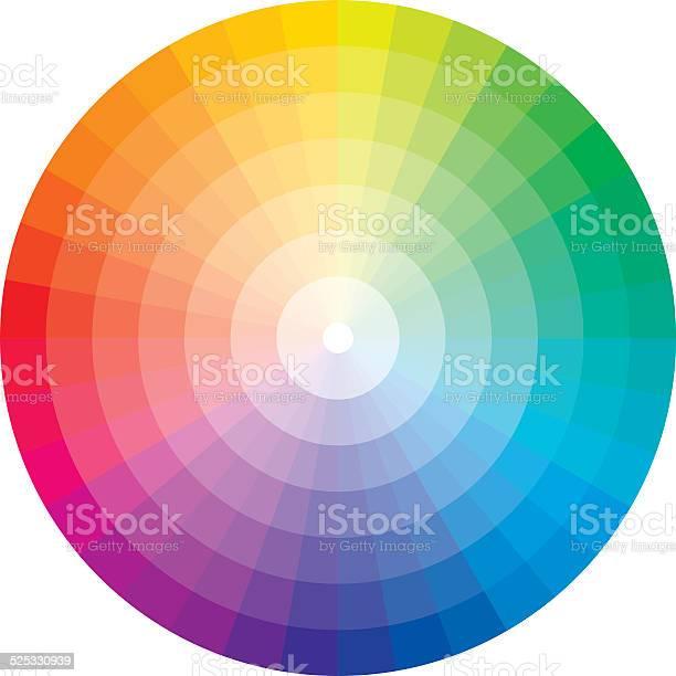 Ruota dei colori con laurea in bianco - arte vettoriale royalty-free di Arcobaleno
