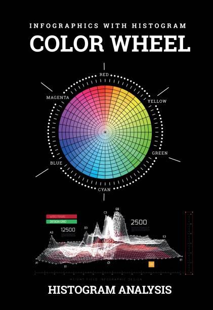 illustrazioni stock, clip art, cartoni animati e icone di tendenza di color wheel with histogram infographics - huế