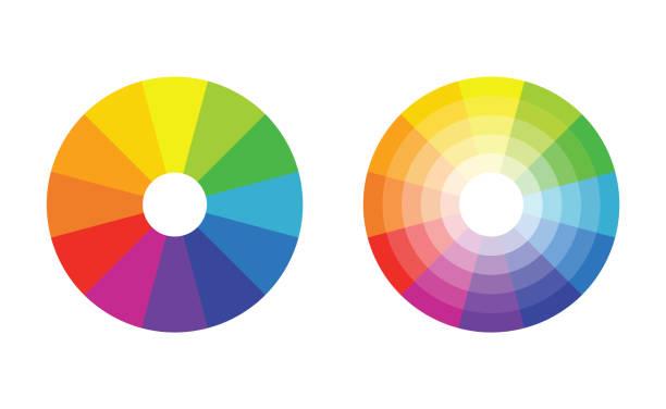illustrazioni stock, clip art, cartoni animati e icone di tendenza di color wheel with twelve colors in gradiations - huế