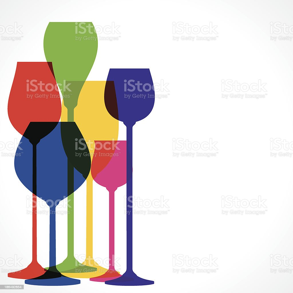 color wine glass vector art illustration