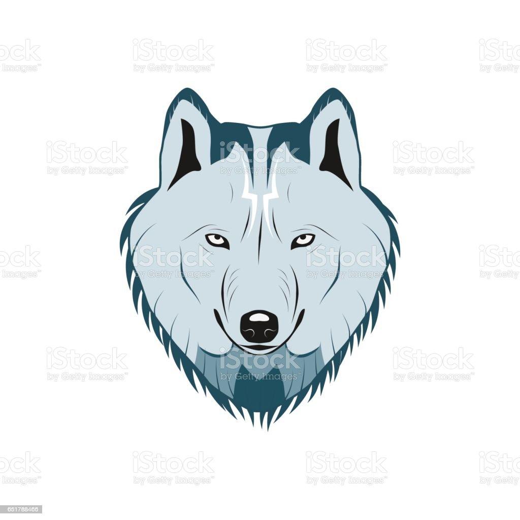 Color wolf head logo vector art illustration