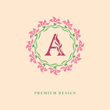 Color Wreath of flowers. Monogram design graceful template. Calligraphic elegant line art logo design. Capital Letter emblem sign A for Royalty, business card, Boutique, Jewelry. Vector illustration