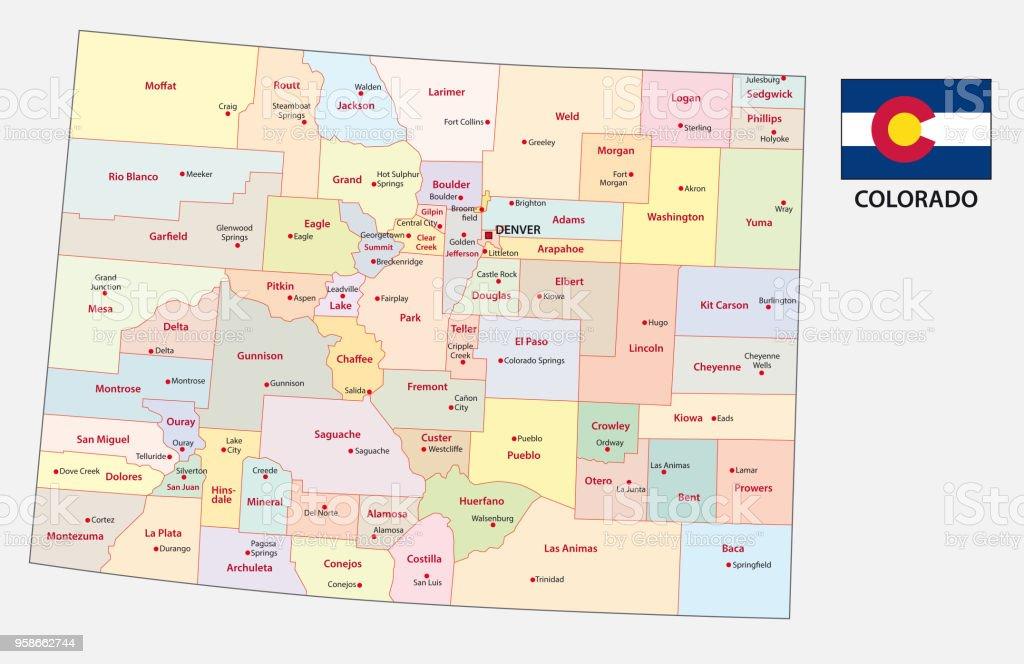 Colorado Karte.Colorado Administrative Und Politische Karte Stock Vektor Art Und Mehr Bilder Von Ansicht Von Oben