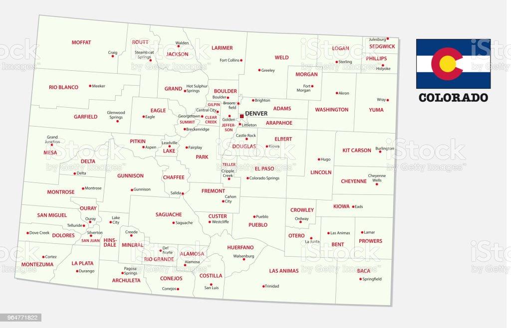 colorado administrative and political map with flag royalty-free colorado administrative and political map with flag stock vector art & more images of aspen - colorado