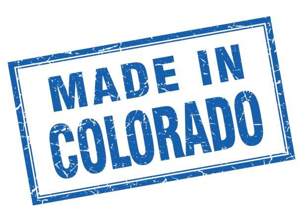 Colorado Blue Square Grunge Made In Stamp Vector Art Illustration