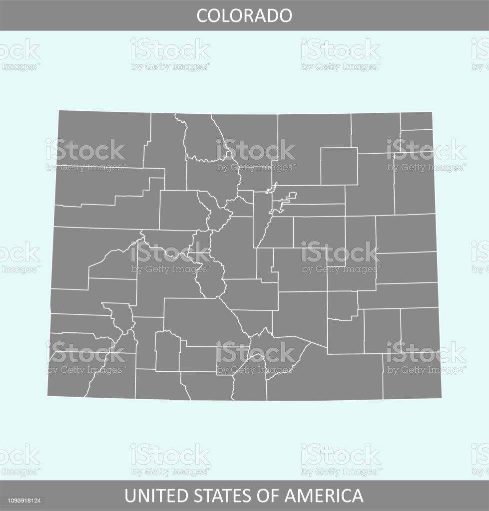 Colorado County Map Vector Outline Gray Background Colorado Map Of ...