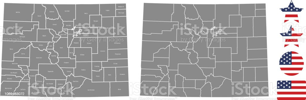 Colorado County Map Vector Outline In Gray Background Colorado State ...