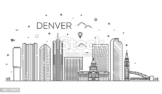 Colorado, Denver. Flat design line vector illustration concept