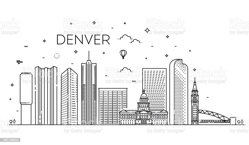 Colorado, Denver. Skyline der Stadt. Architektur, Gebäude, Landschaft, Panorama, Sehenswürdigkeiten, Symbole – Vektorgrafik