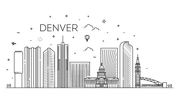 Colorado, Denver. City skyline. Architecture, buildings, landscape, panorama, landmarks, icons Colorado, Denver. Flat design line vector illustration concept denver stock illustrations