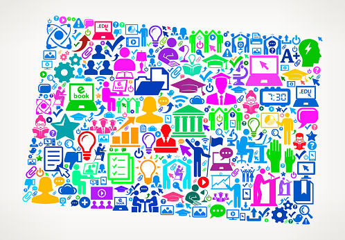 Colorado E-Learning College Education Icons Background Pattern