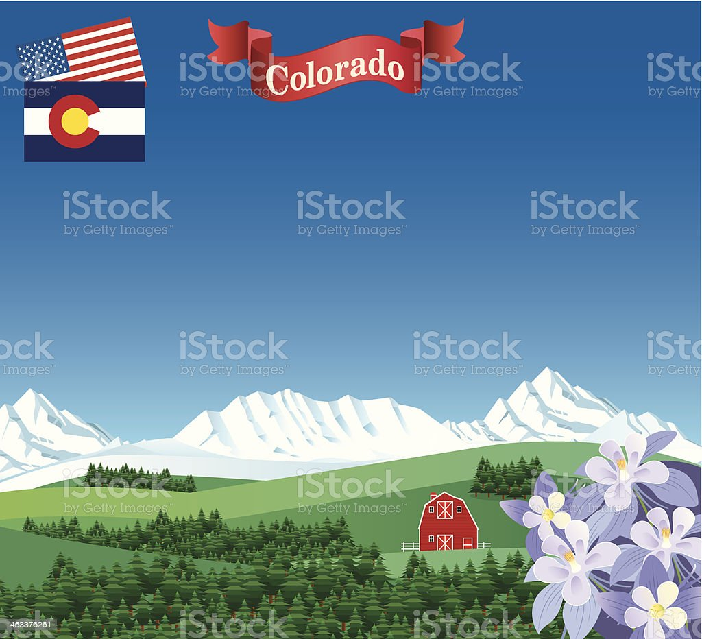 Colorado Forest and Mountains vector art illustration