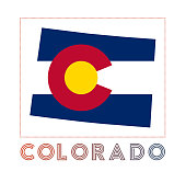 Colorado Logo. Map of Colorado with us state name and flag.