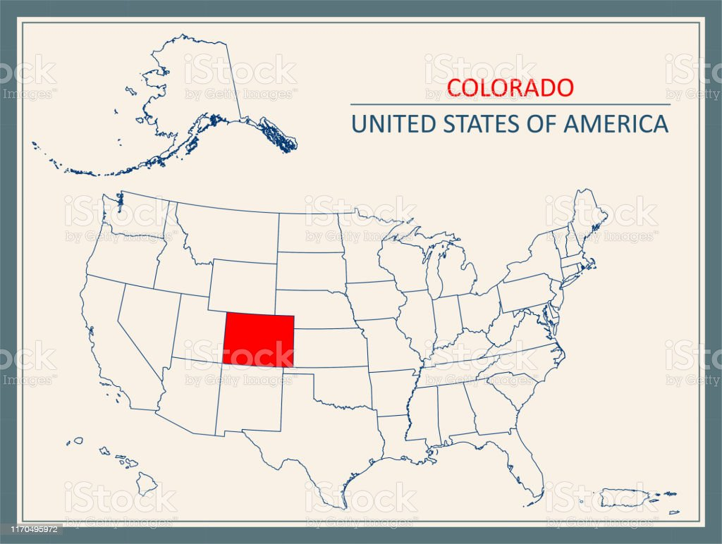 Colorado Map Outline Highlighted On United States Map Stock ...