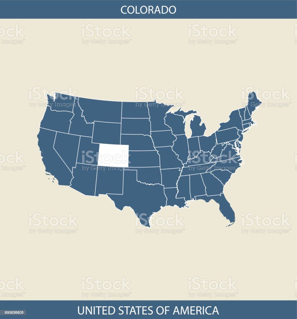 Colorado Map Usa Vector Outline Cartography In Blue And Gray ...