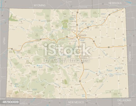 A detailed map of Colorado state with cities, roads, major rivers, national forests, monuments, and major lakes. Includes neighboring states and surrounding water.