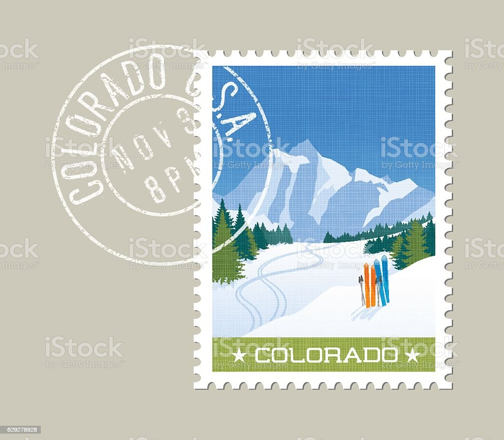 Colorado postage stamp design. Skiing in rocky mountains. vector art illustration
