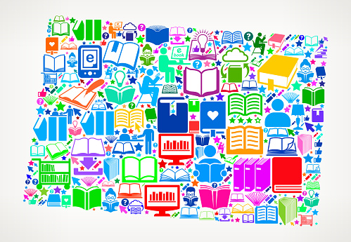 Colorado Reading Books and Education Vector Icons Background