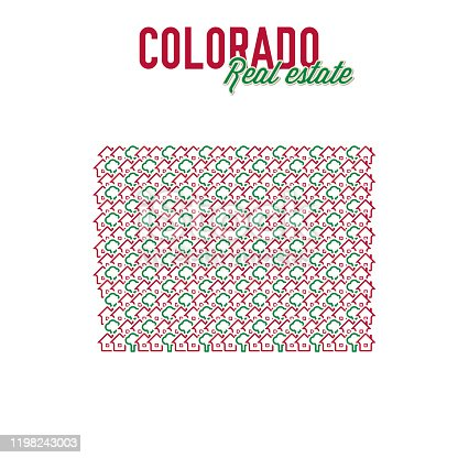 Colorado real estate properties map. Text design. Colorado US state realty creative concept. Icons of houses with gardens in the shape of a map of Colorado. Vector illustration.