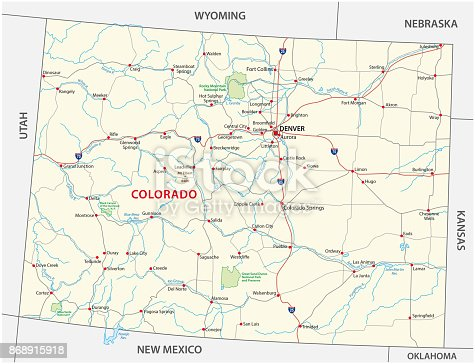 istock Colorado road and national park map 868915918